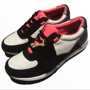 HARLOW Genuine Leather Pink Black White Sneakers